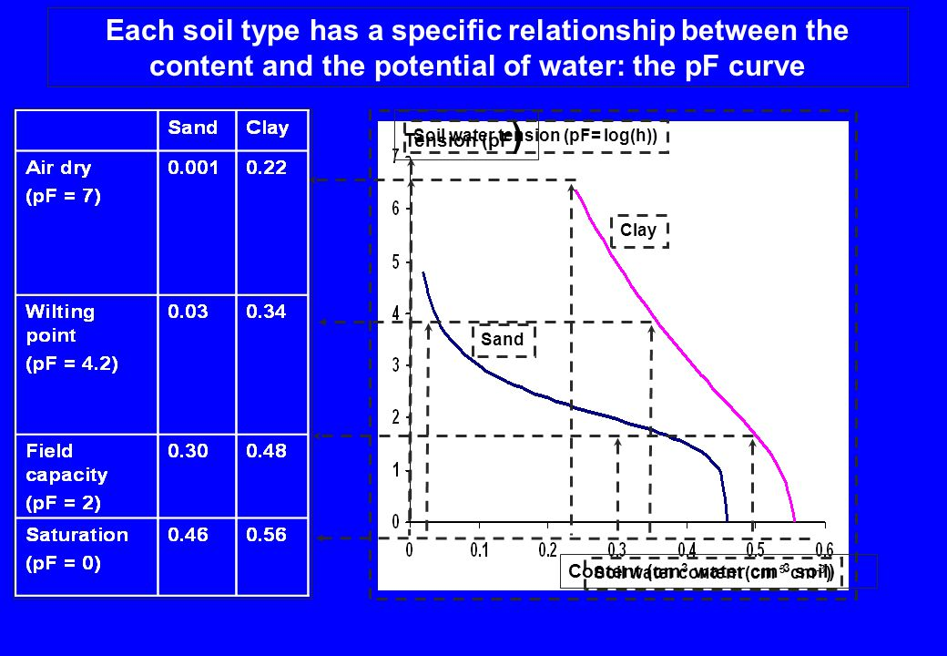 Each soil type has a specific relationship between the content and the potential of water: the pF curve