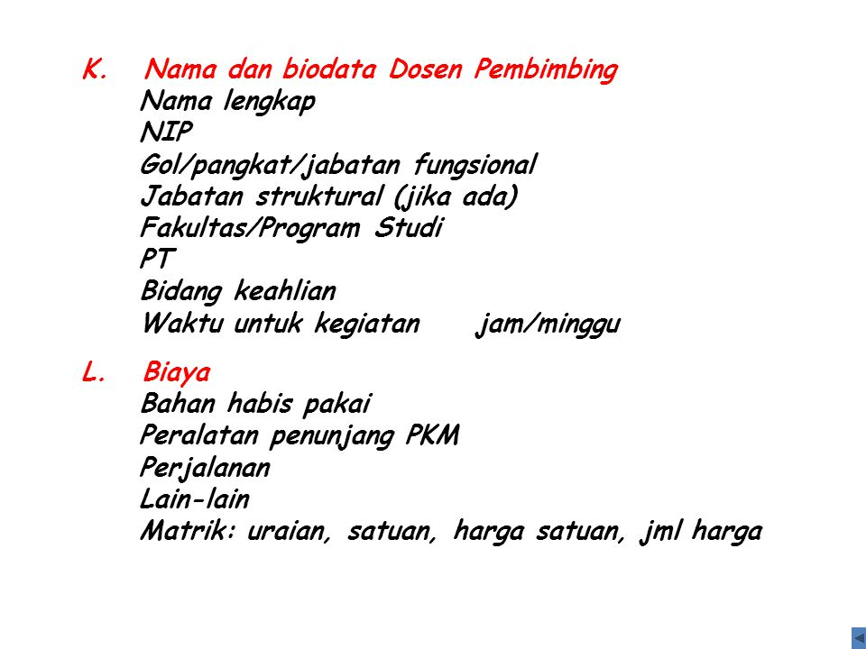 K. Nama dan biodata Dosen Pembimbing