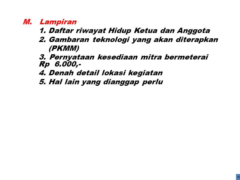 M. Lampiran 1. Daftar riwayat Hidup Ketua dan Anggota. 2. Gambaran teknologi yang akan diterapkan.