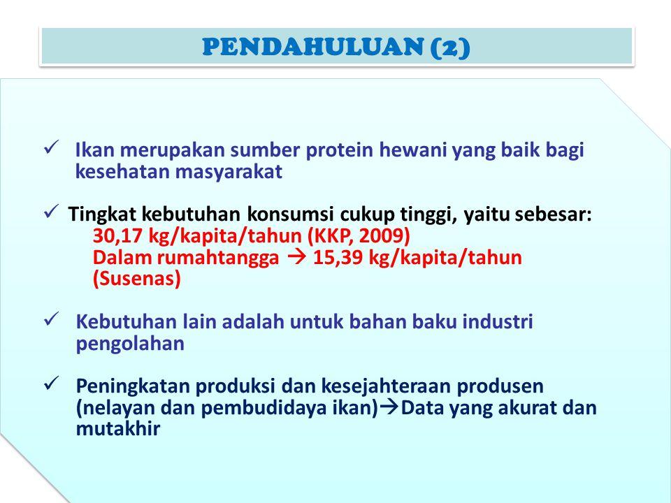 PENDAHULUAN (2) Ikan merupakan sumber protein hewani yang baik bagi kesehatan masyarakat. Tingkat kebutuhan konsumsi cukup tinggi, yaitu sebesar: