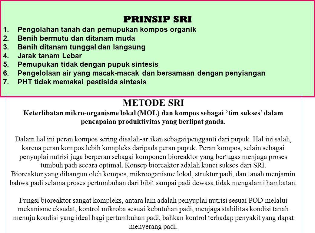 PRINSIP SRI METODE SRI Pengolahan tanah dan pemupukan kompos organik