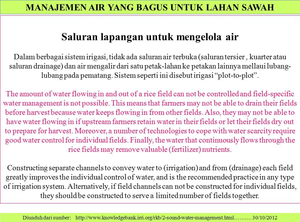 Saluran lapangan untuk mengelola air