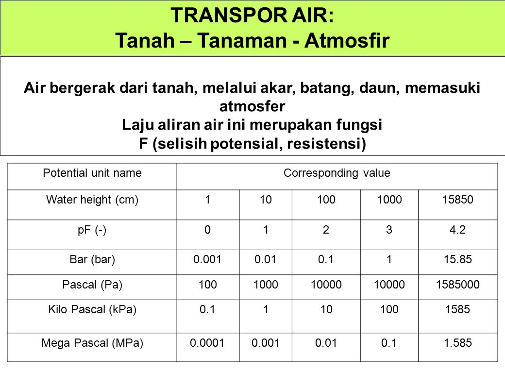 TRANSPOR AIR: Tanah – Tanaman - Atmosfir
