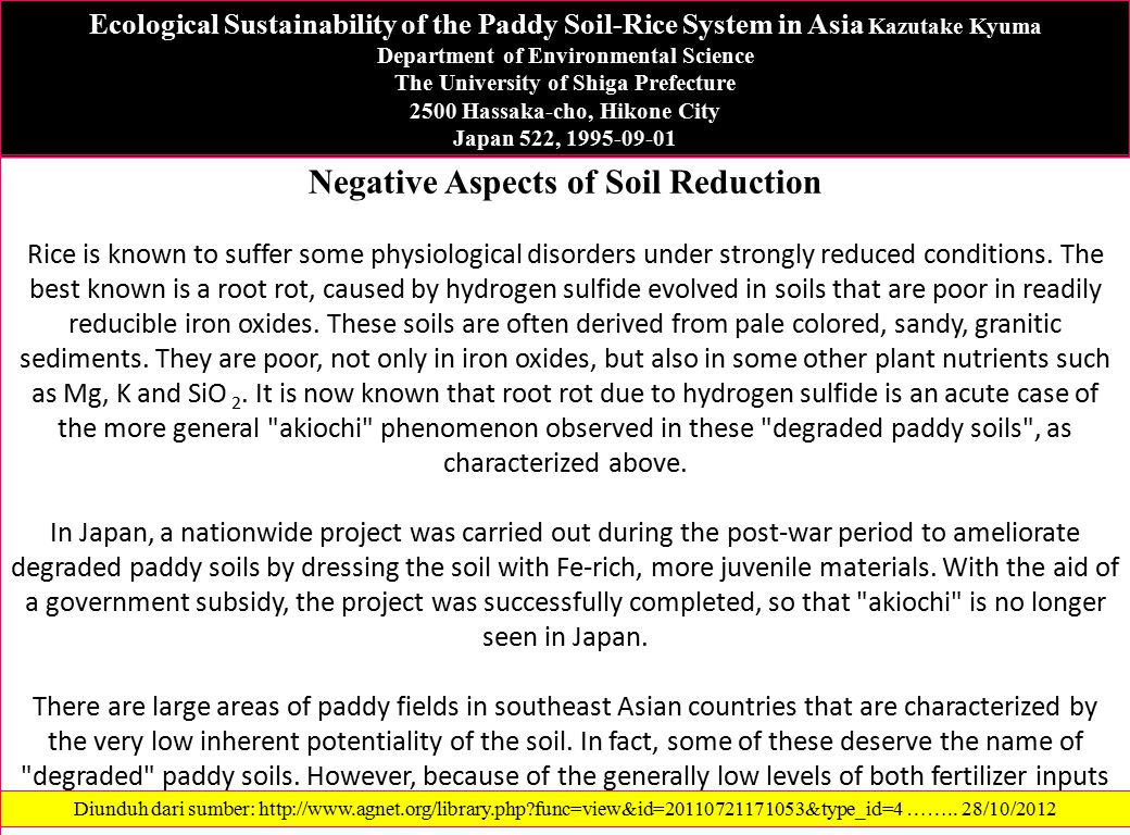 Negative Aspects of Soil Reduction