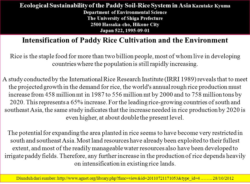 Intensification of Paddy Rice Cultivation and the Environment