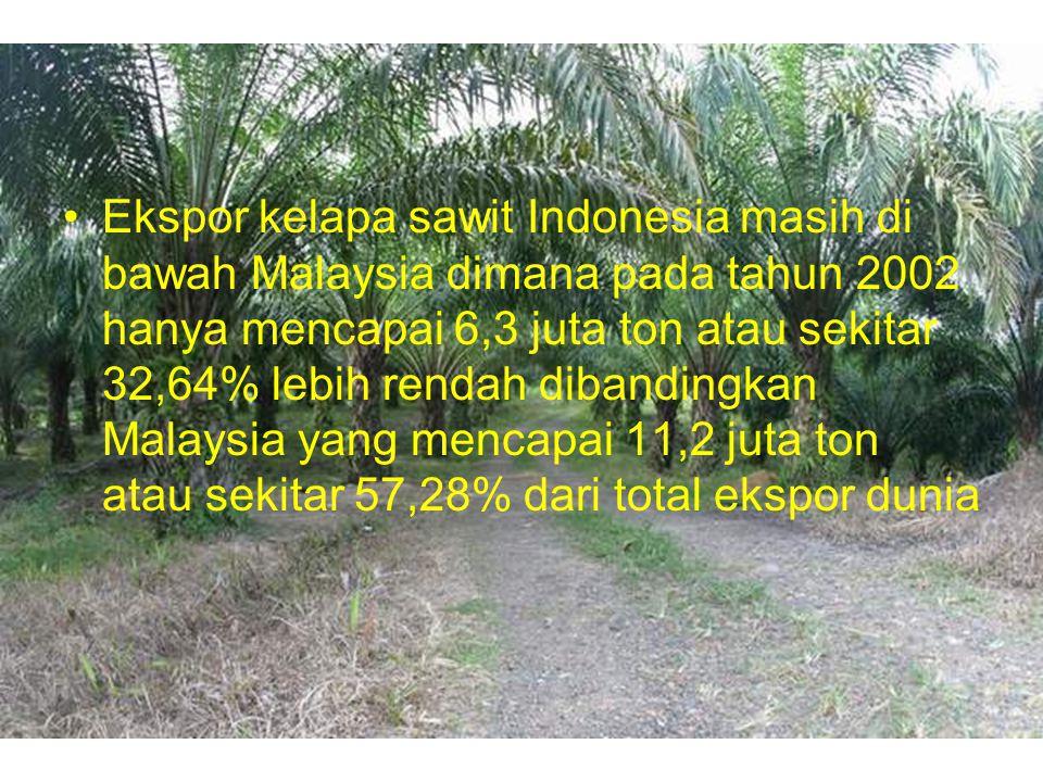 Ekspor kelapa sawit Indonesia masih di bawah Malaysia dimana pada tahun 2002 hanya mencapai 6,3 juta ton atau sekitar 32,64% lebih rendah dibandingkan Malaysia yang mencapai 11,2 juta ton atau sekitar 57,28% dari total ekspor dunia