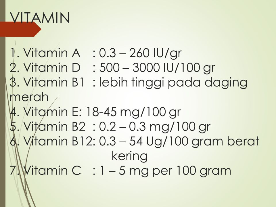 VITAMIN 1. Vitamin A. : 0. 3 – 260 IU/gr 2. Vitamin D