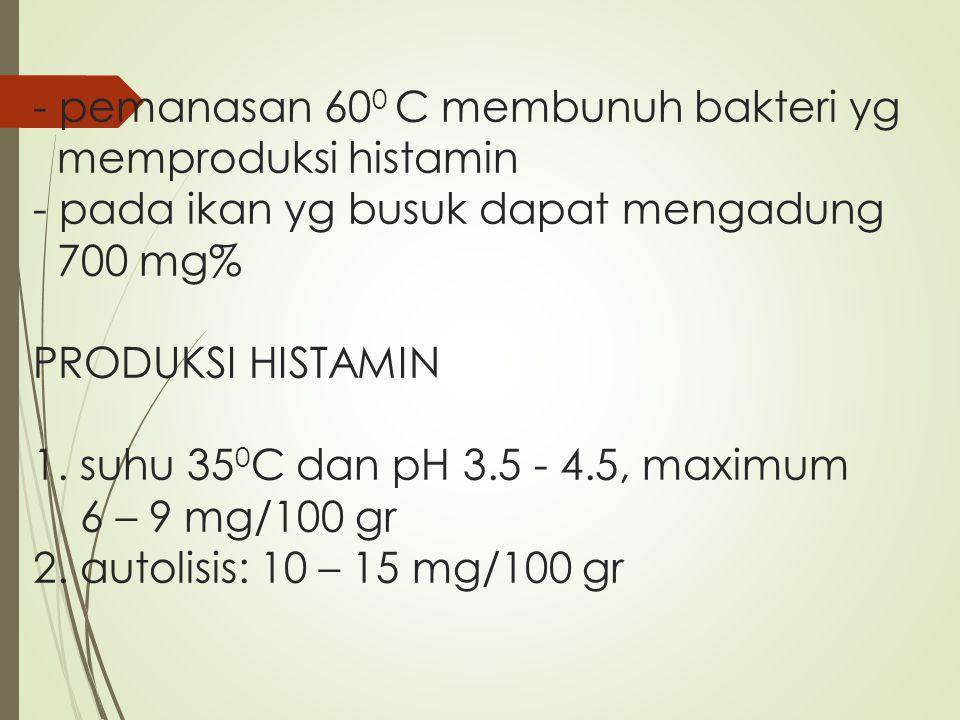 - pemanasan 600 C membunuh bakteri yg memproduksi histamin - pada ikan yg busuk dapat mengadung 700 mg% PRODUKSI HISTAMIN 1.