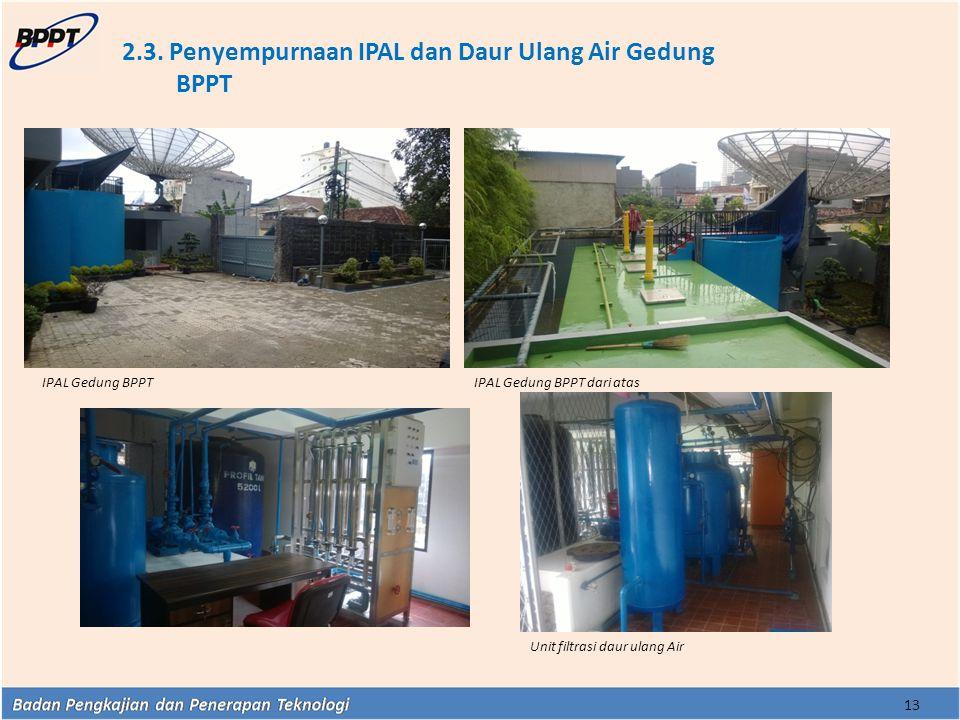 2.3. Penyempurnaan IPAL dan Daur Ulang Air Gedung BPPT
