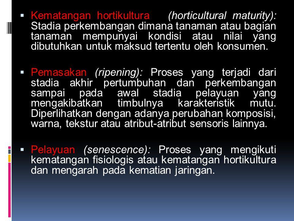 Kematangan hortikultura (horticultural maturity): Stadia perkembangan dimana tanaman atau bagian tanaman mempunyai kondisi atau nilai yang dibutuhkan untuk maksud tertentu oleh konsumen.