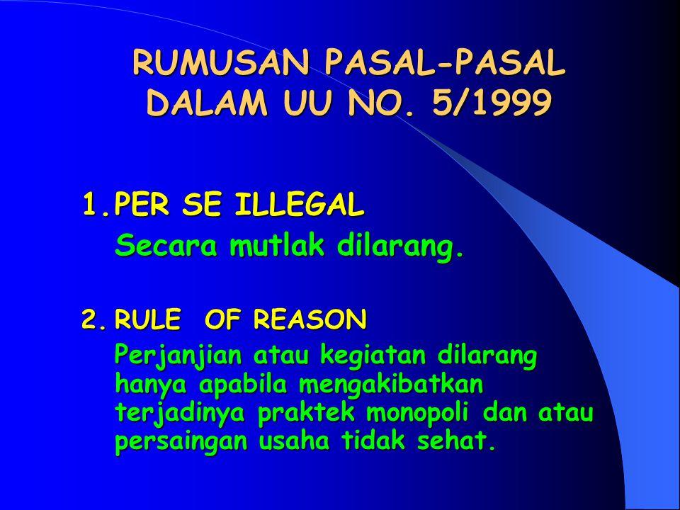 RUMUSAN PASAL-PASAL DALAM UU NO. 5/1999