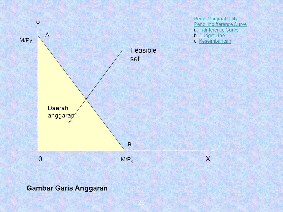 Y Feasible set X Gambar Garis Anggaran Daerah anggaran 20 A M/Py B