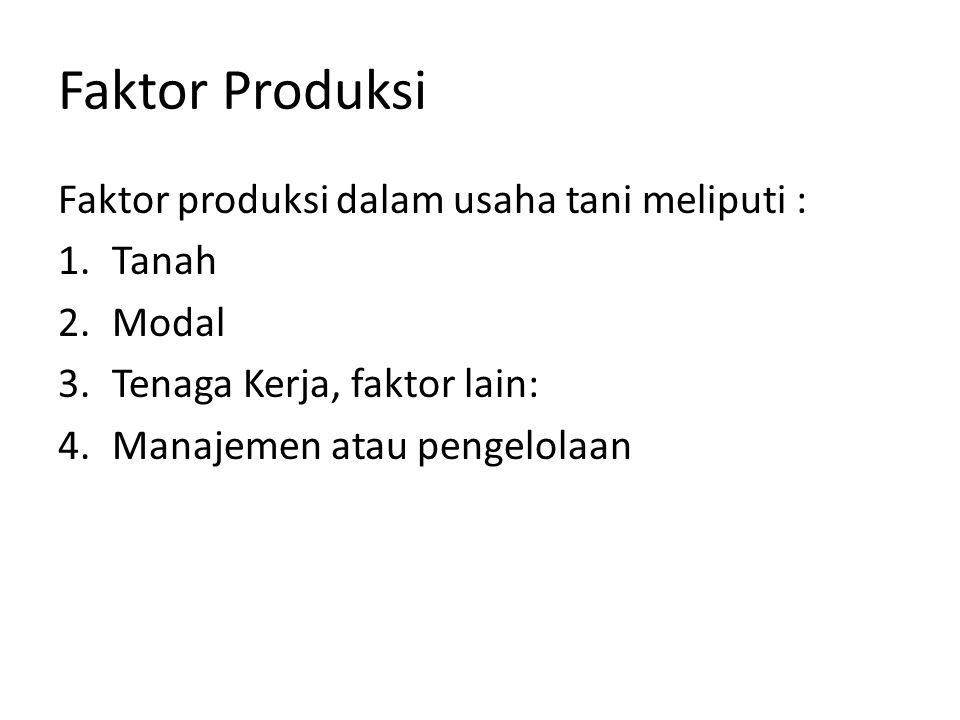Faktor Produksi Faktor produksi dalam usaha tani meliputi : Tanah