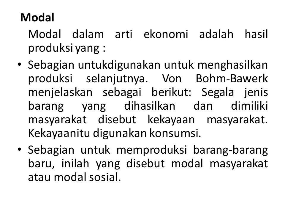 Modal Modal dalam arti ekonomi adalah hasil produksi yang :