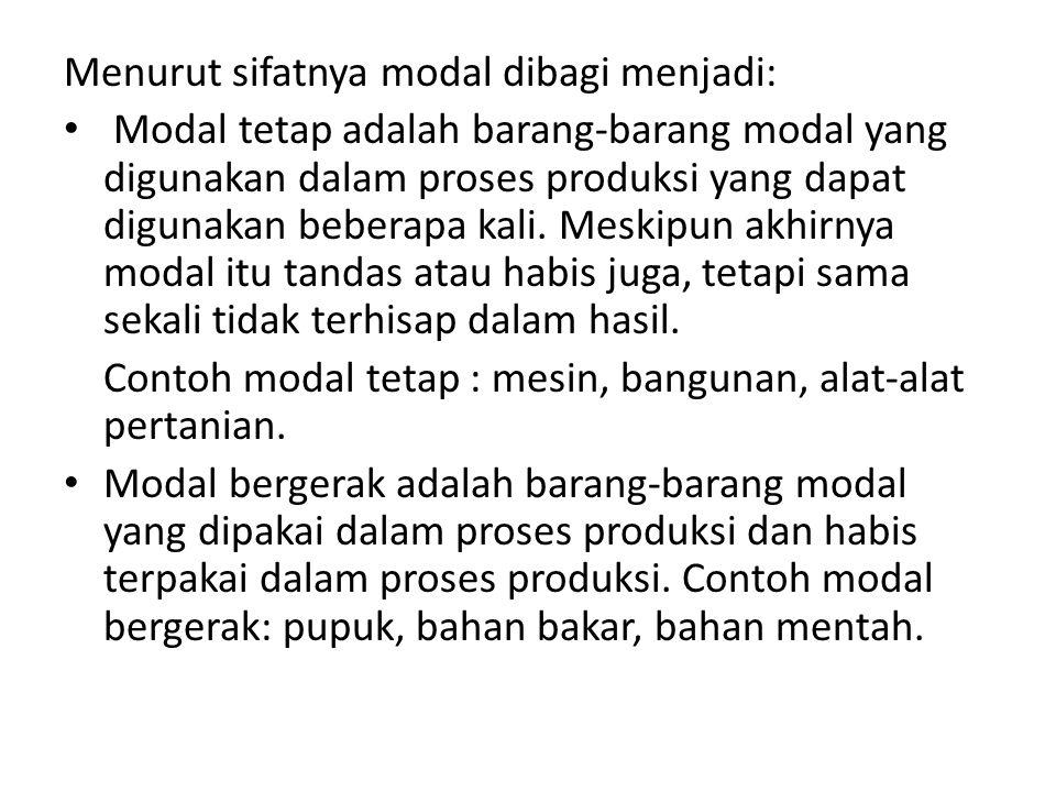 Menurut sifatnya modal dibagi menjadi:
