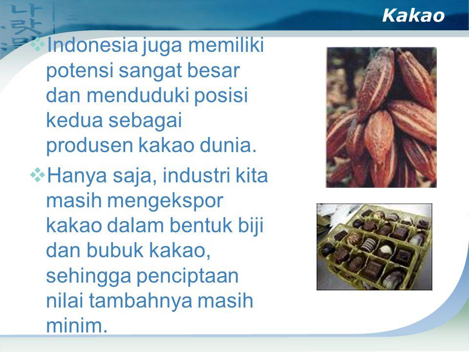 Kakao Indonesia juga memiliki potensi sangat besar dan menduduki posisi kedua sebagai produsen kakao dunia.