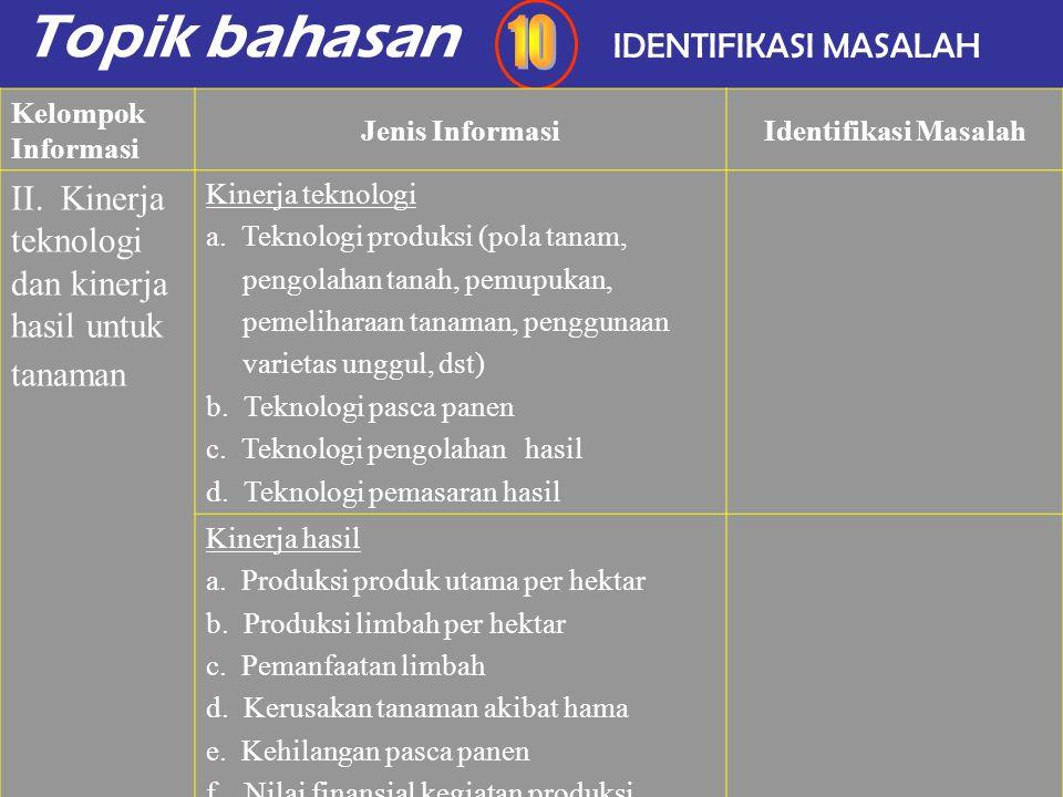 Topik bahasan 10 IDENTIFIKASI MASALAH
