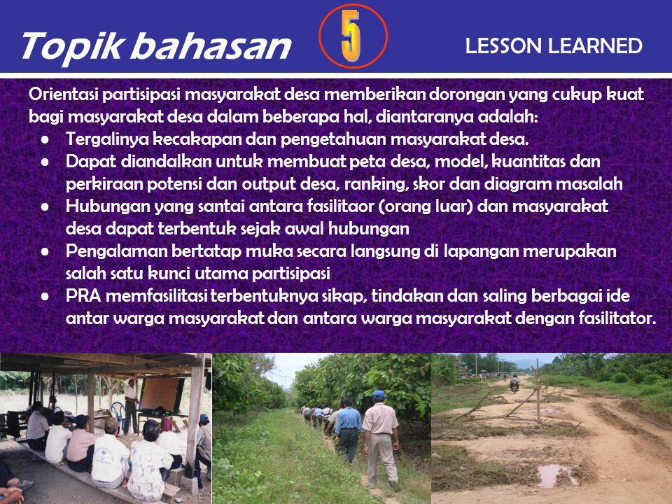 Topik bahasan 5 LESSON LEARNED