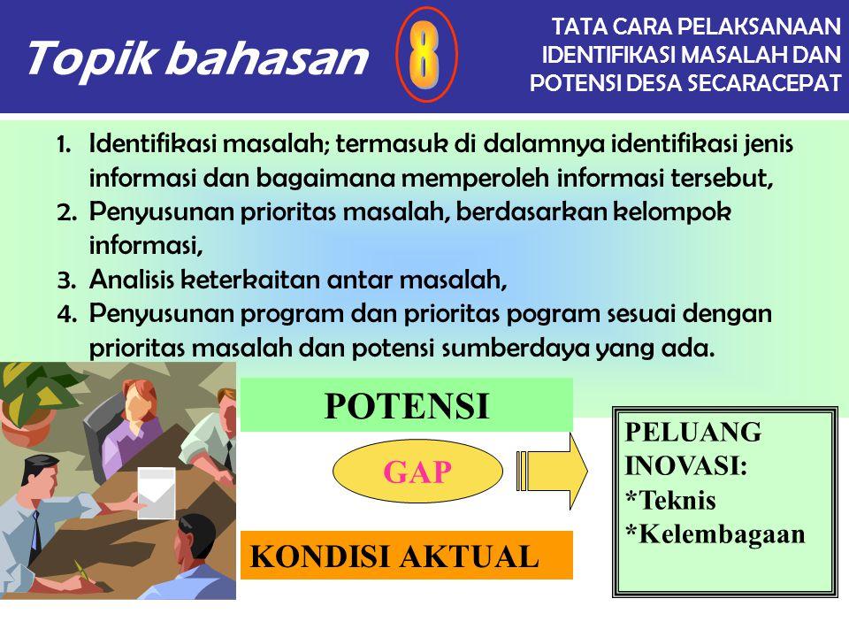 Topik bahasan 8 POTENSI GAP KONDISI AKTUAL