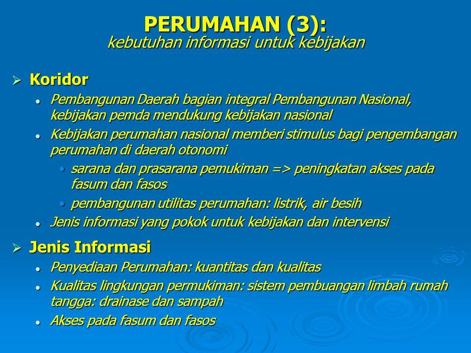 PERUMAHAN (3): kebutuhan informasi untuk kebijakan