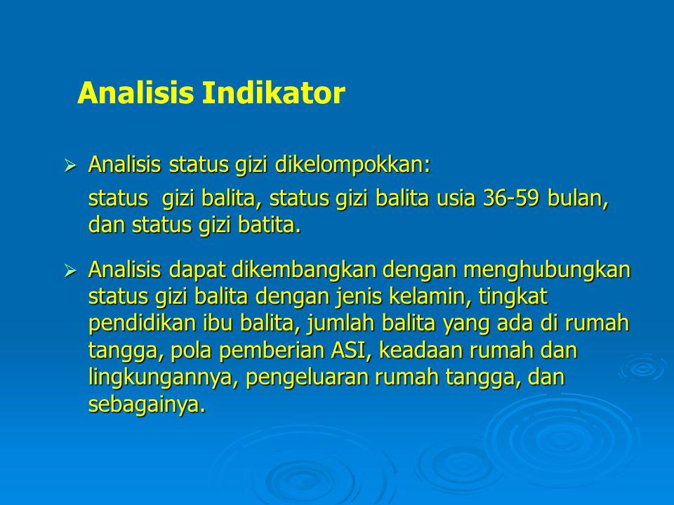 Analisis Indikator Analisis status gizi dikelompokkan: