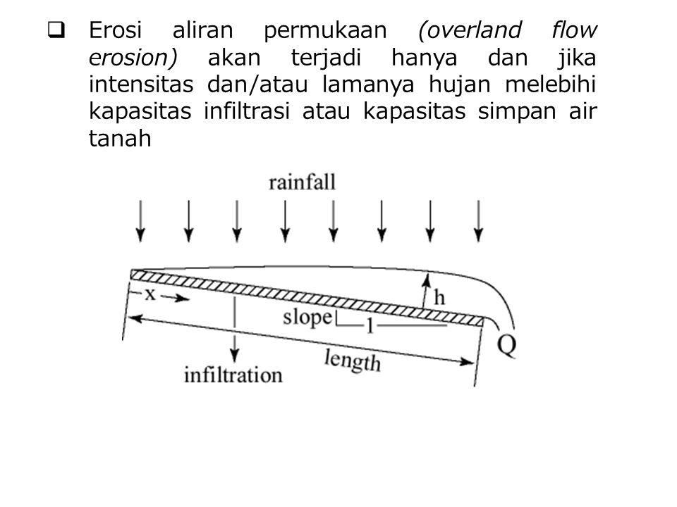 Erosi aliran permukaan (overland flow erosion) akan terjadi hanya dan jika intensitas dan/atau lamanya hujan melebihi kapasitas infiltrasi atau kapasitas simpan air tanah