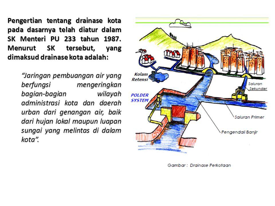 Pengertian tentang drainase kota pada dasarnya telah diatur dalam SK Menteri PU 233 tahun 1987. Menurut SK tersebut, yang dimaksud drainase kota adalah: