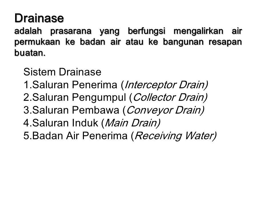 Drainase Sistem Drainase 1.Saluran Penerima (Interceptor Drain)