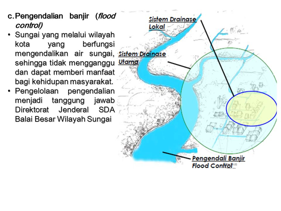 c. Pengendalian banjir (flood control)