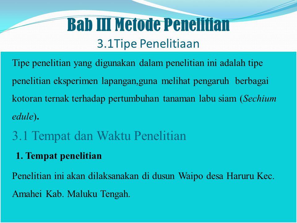 Bab III Metode Penelitian 3.1Tipe Penelitiaan