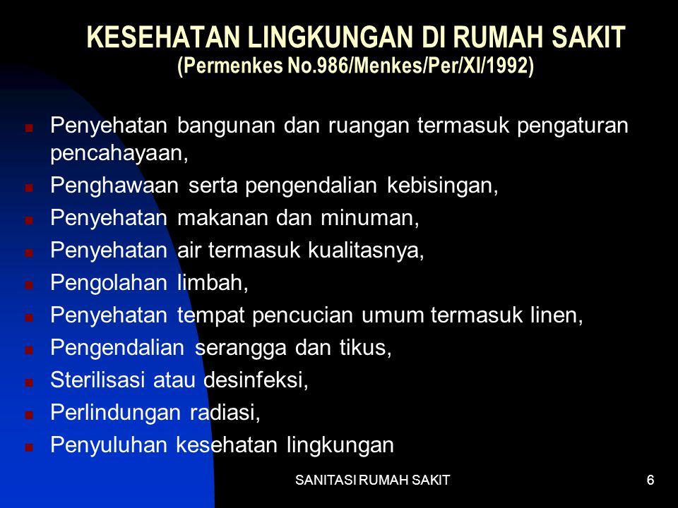 KESEHATAN LINGKUNGAN DI RUMAH SAKIT (Permenkes No
