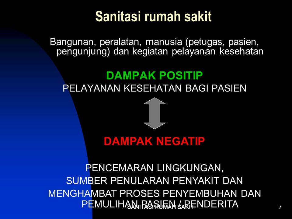 Sanitasi rumah sakit DAMPAK POSITIP DAMPAK NEGATIP