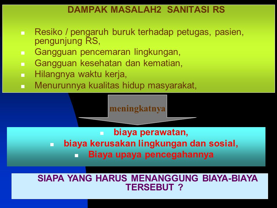 DAMPAK MASALAH2 SANITASI RS