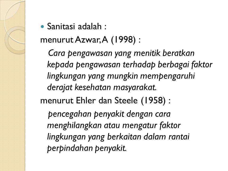 Sanitasi adalah : menurut Azwar, A (1998) :
