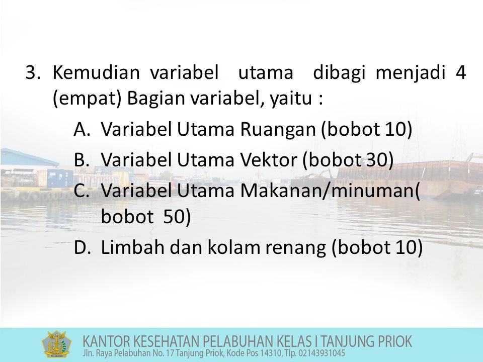 Kemudian variabel utama dibagi menjadi 4 (empat) Bagian variabel, yaitu :