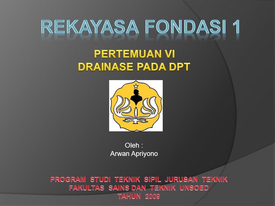 REKAYASA FONDASI 1 PERTEMUAN VI DRAINASE PADA DPT Oleh :