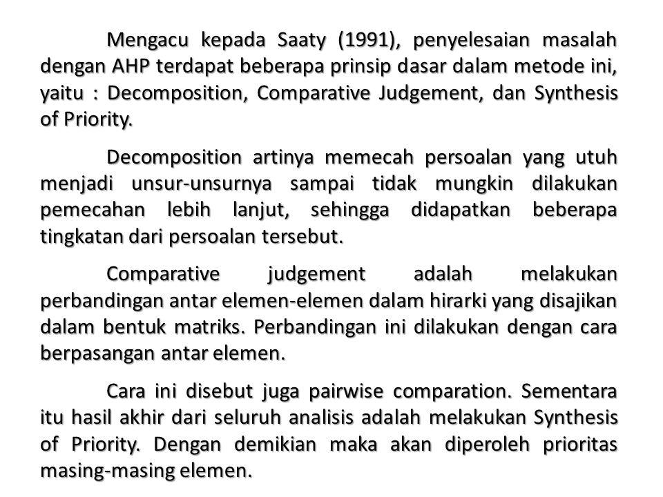 Mengacu kepada Saaty (1991), penyelesaian masalah dengan AHP terdapat beberapa prinsip dasar dalam metode ini, yaitu : Decomposition, Comparative Judgement, dan Synthesis of Priority.