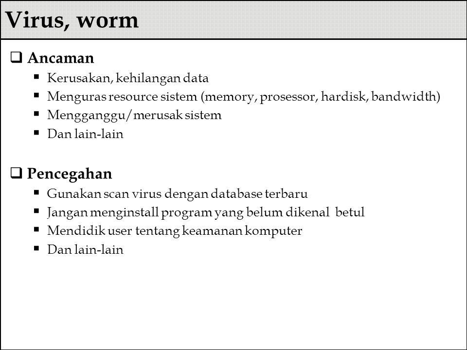 Virus, worm Ancaman Pencegahan Kerusakan, kehilangan data