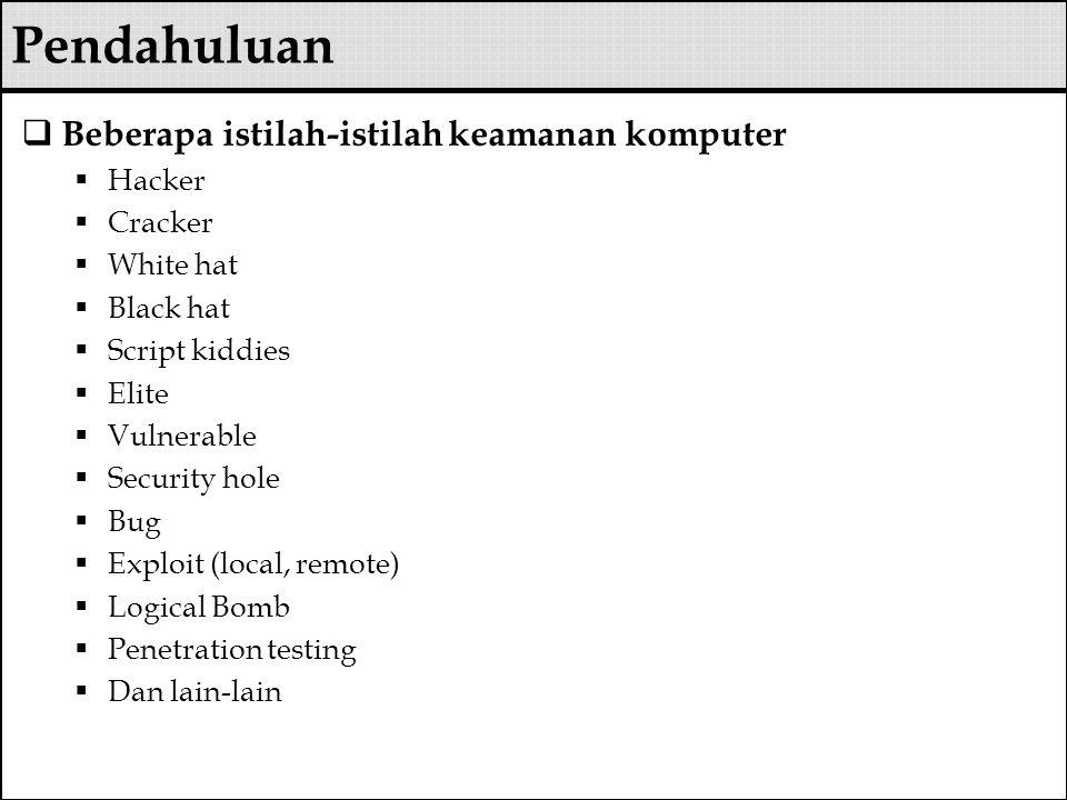 Pendahuluan Beberapa istilah-istilah keamanan komputer Hacker Cracker