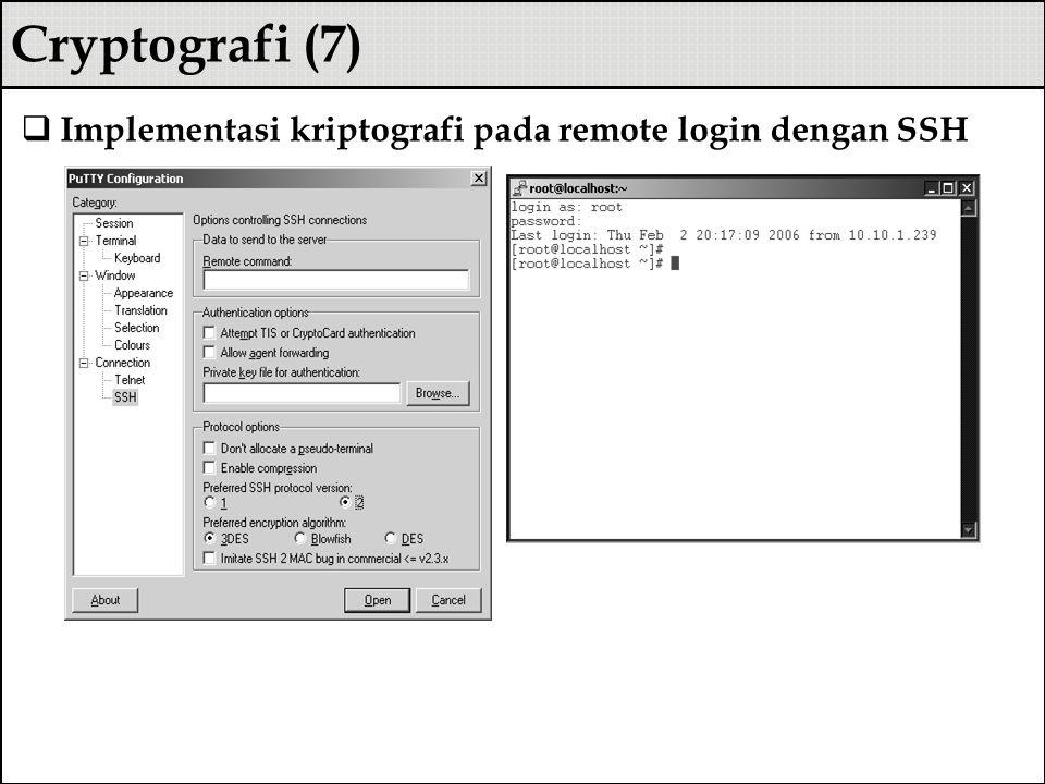 Cryptografi (7) Implementasi kriptografi pada remote login dengan SSH