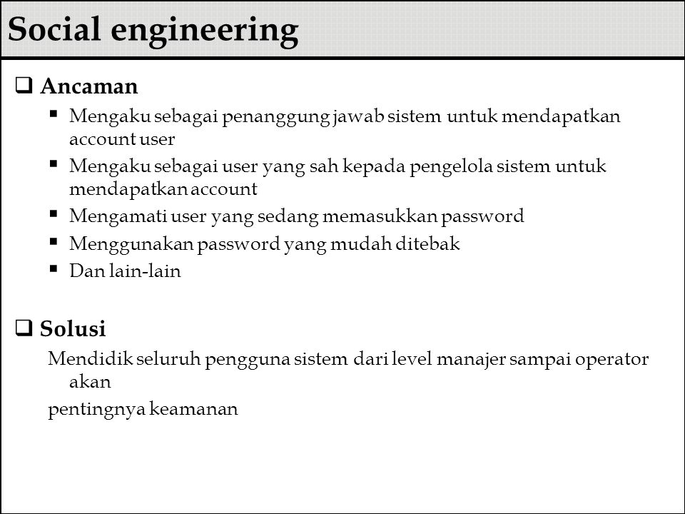 Social engineering Ancaman Solusi