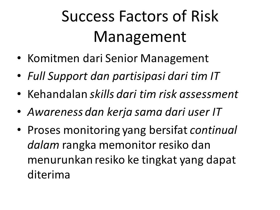 Success Factors of Risk Management