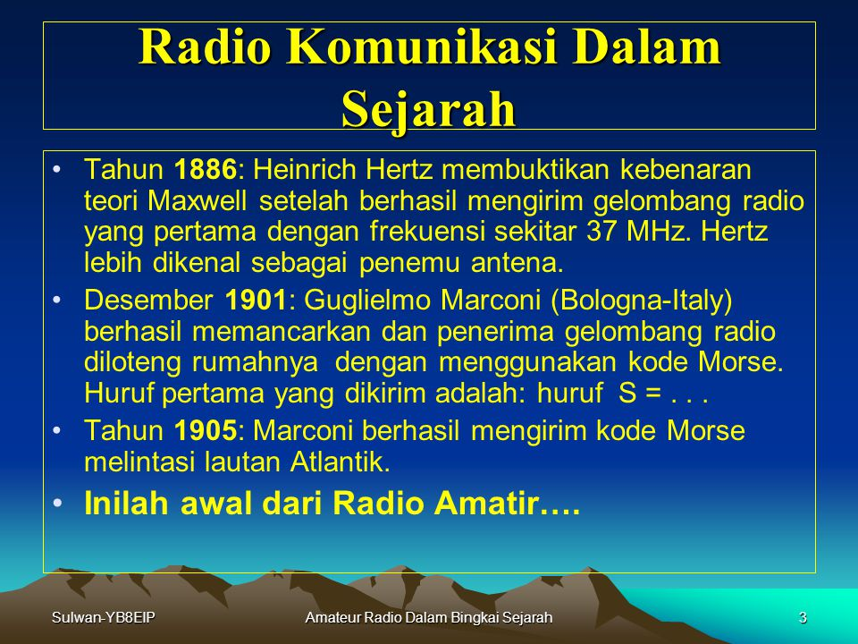 Radio Komunikasi Dalam Sejarah