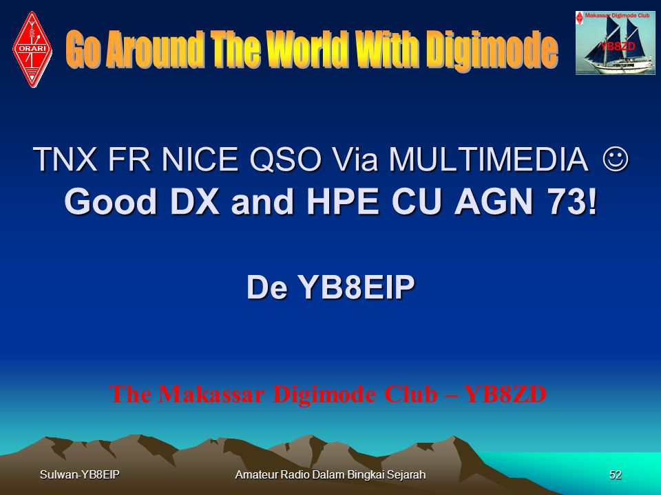 TNX FR NICE QSO Via MULTIMEDIA  Good DX and HPE CU AGN 73! De YB8EIP