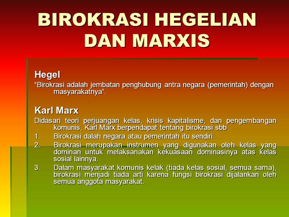 BIROKRASI HEGELIAN DAN MARXIS