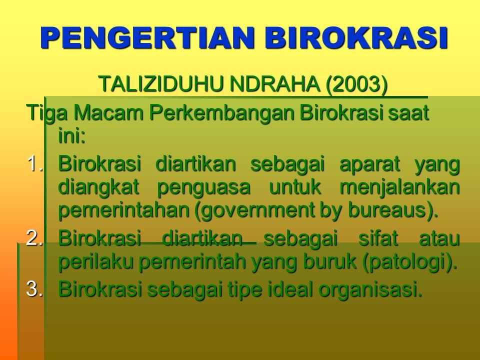 PENGERTIAN BIROKRASI TALIZIDUHU NDRAHA (2003)