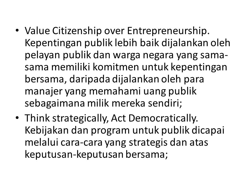 Value Citizenship over Entrepreneurship