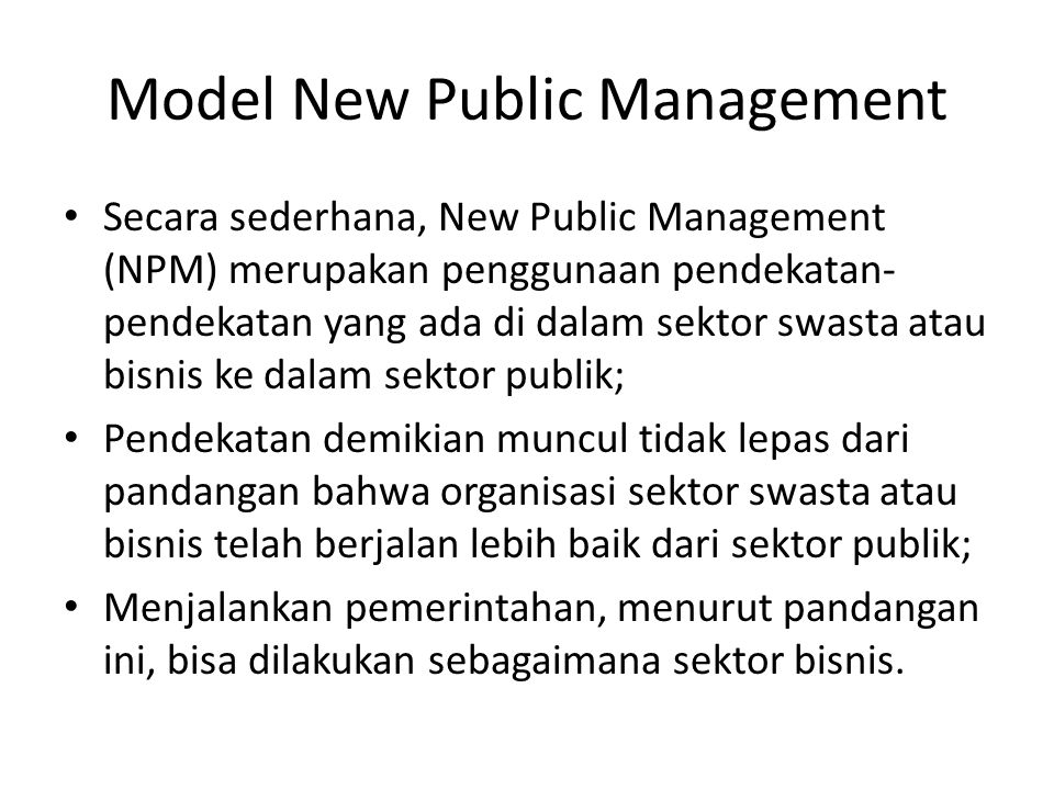 Model New Public Management