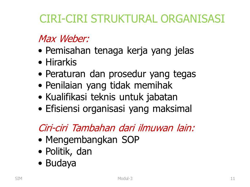 CIRI-CIRI STRUKTURAL ORGANISASI