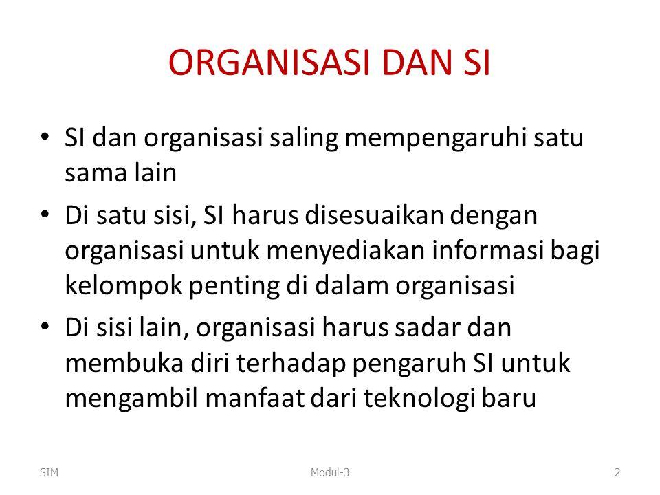 ORGANISASI DAN SI SI dan organisasi saling mempengaruhi satu sama lain